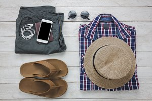 Top view accessories to travel.