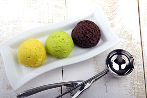 Three ice creams balls