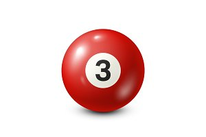 Billiard,red pool ball with number 3.Snooker. White background.Vector illustration.