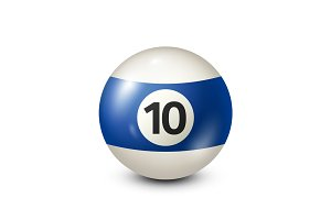 Billiard,blue pool ball with number 10.Snooker. Transparent background.Vector illustration.
