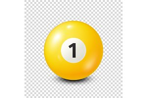 Billiard,yellow pool ball with number 1.Snooker. Transparent background.Vector illustration.
