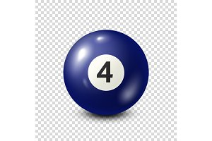 Billiard,blue pool ball with number 4.Snooker. Transparent background.Vector illustration.