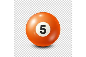 Billiard,orange pool ball with number 5.Snooker. Transparent background.Vector illustration.