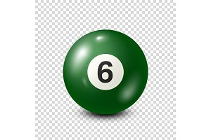 Billiard,green pool ball with number 6.Snooker. Transparent background.Vector illustration.