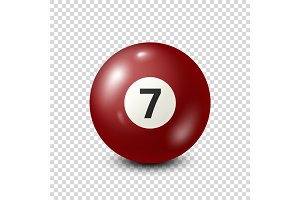 Billiard,red pool ball with number 7.Snooker. Transparent background.Vector illustration.