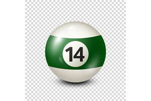 Billiard,green pool ball with number 14.Snooker. Transparent background.Vector illustration.