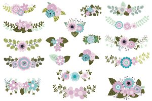 Violet mint green flower clipart