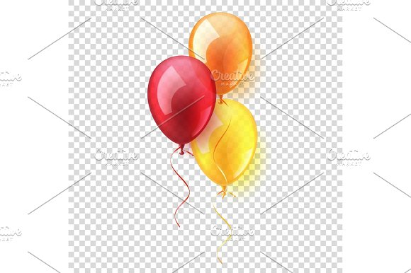 Transparent Isolated Realistic Colorful Glossy Flying Air Balloons set. Birthday party. Ribbon.Celebration. Wedding or Anniversary.Vector Illustration.