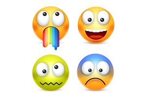 Smiley set, crazy,happy emoticon. Yellow face with emotions. Facial expression. 3d realistic emoji. Funny cartoon character.Mood. Web icon. Vector illustration.
