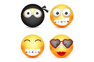 Smiley set, ninja, happy emoticon. Yellow face with emotions. Facial expression. 3d realistic emoji. Funny cartoon character.Mood. Web icon. Vector illustration.