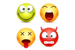 Smiley set, green,happz, devil emoticon. Yellow face with emotions. Facial expression. 3d realistic emoji. Funny cartoon character.Mood. Web icon. Vector illustration.