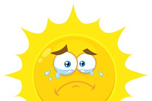 Crying Yellow Sun With Tears