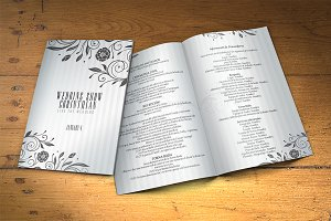 Wedding Program 2 sides PSD Template