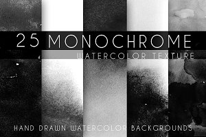 25 monochrome watercolor texture