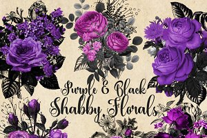Purple and Black Floral Clipart
