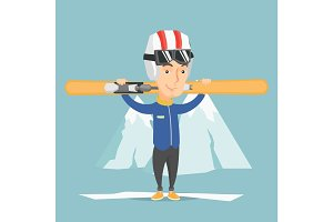 Man holding skis vector illustration.