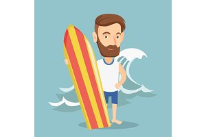 Surfer holding a surfboard vector illustration.