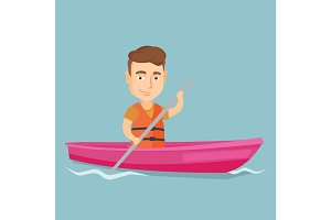 Sportsman riding a kayak vector illustration.