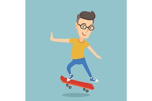 Man riding skateboard vector illustration.