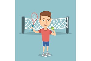 Caucasian tennis player vector illustration.
