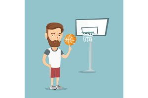 Hipster basketball player spinning a ball.