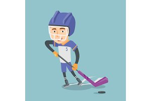 Ice hockey player vector illustration.