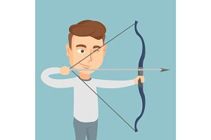 Archer training with a bow vector illustration.
