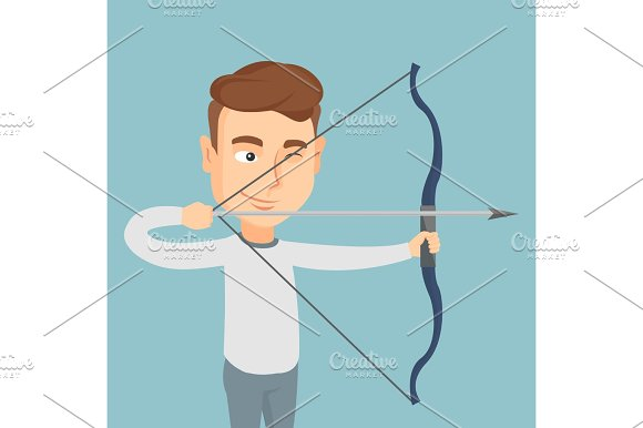 Archer Training With A Bow Vector Illustration