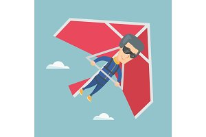 Man flying on hang-glider vector illustration.