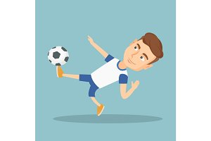 Soccer player kicking a ball vector illustration.