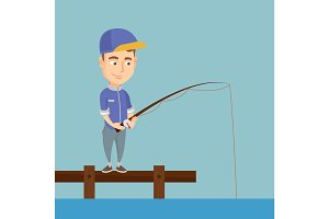 Man fishing on jetty vector illustration.