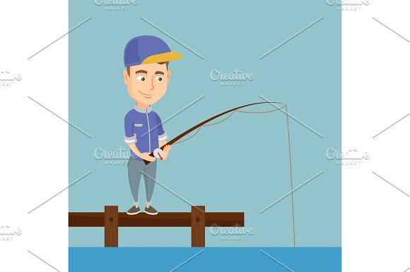 Man Fishing On Jetty Vector Illustration
