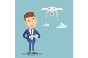 Man flying drone vector illustration.