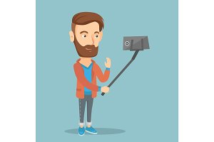 Man making selfie vector illustration.