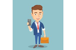Businessman making selfie vector illustration.