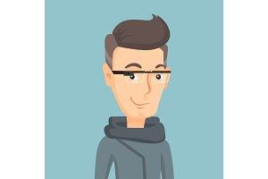 Man wearing smart glass vector illustration.