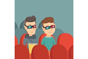 Happy friends watching 3D movie in the theatre.