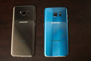 Gold and blue Samsung s8 plus and s7