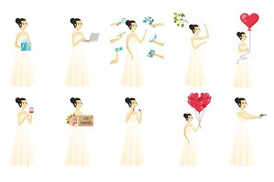 Vector set of illustrations with bride character.