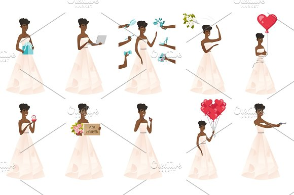 Vector Set Of Illustrations With Bride Character
