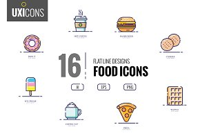 16 flat thin line food icons
