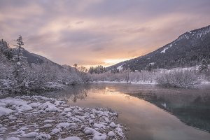 Winter Sunrise at spring of Zelenci