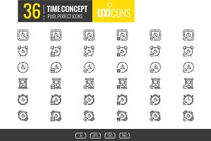 UXIcons: 36 Time concept icons