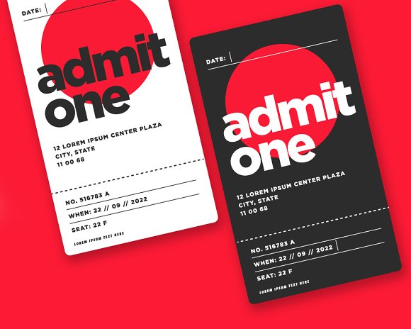 Event Ticket Admit Card Design ~ Card Templates ~ Creative Market