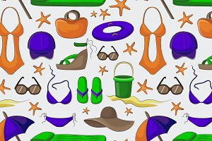 Summer and beach accessories pattern