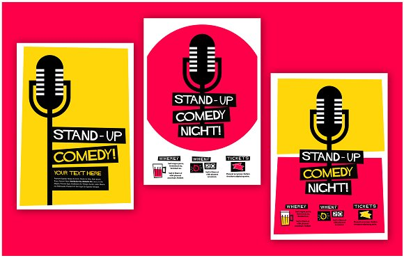 Stand-up Comedy Poster Template ~ Flyer Templates ~ Creative Market