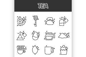 Tea cartoon concept icons