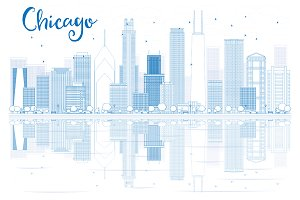 Outline Chicago skyline