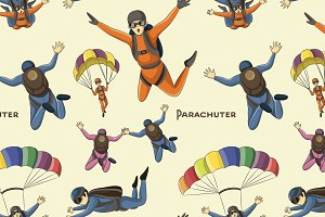 Vector set of parachuter pattern