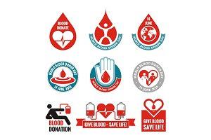 Blood Donation - Vector Logo Badges